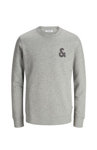 Jack Jones Erkek Sweatshirt 12155398 Light Grey Melange