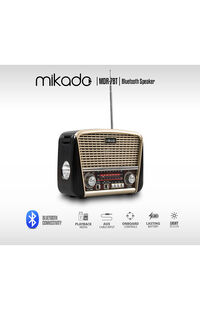 Mikado MDR-8BT Serenad-K Gold Usb-TF Destekli Bluetooth FM-AM*SW 3 BAND Klasik Radyo