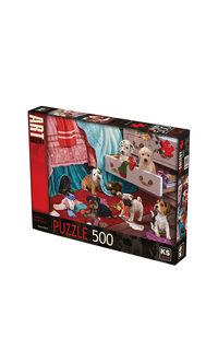 KS Games Puppies in the Bedroom 500 Parça Puzzle
