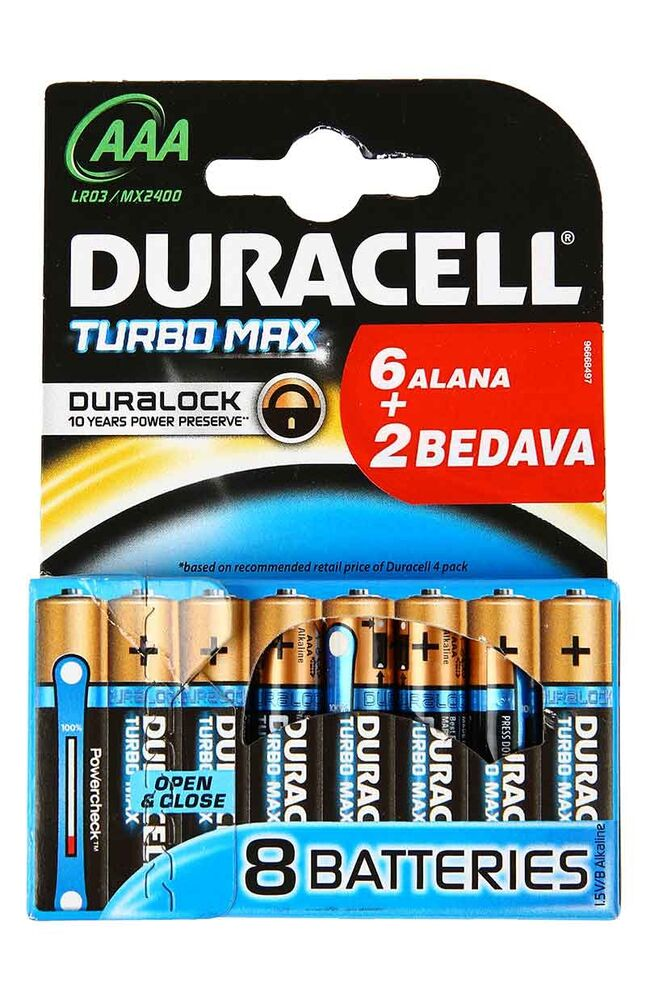 Image for Duracell Pil Aaa Turbomax (6+2) from İzmir