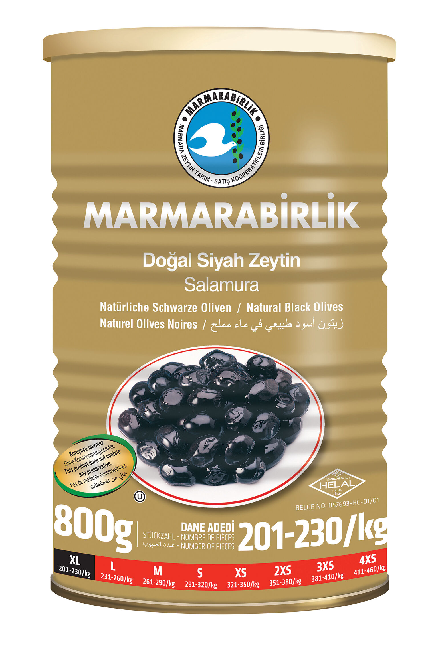 Image for Marmarabirlik Zeytin Mega 800G Tnk (201-230Klb) from Bursa