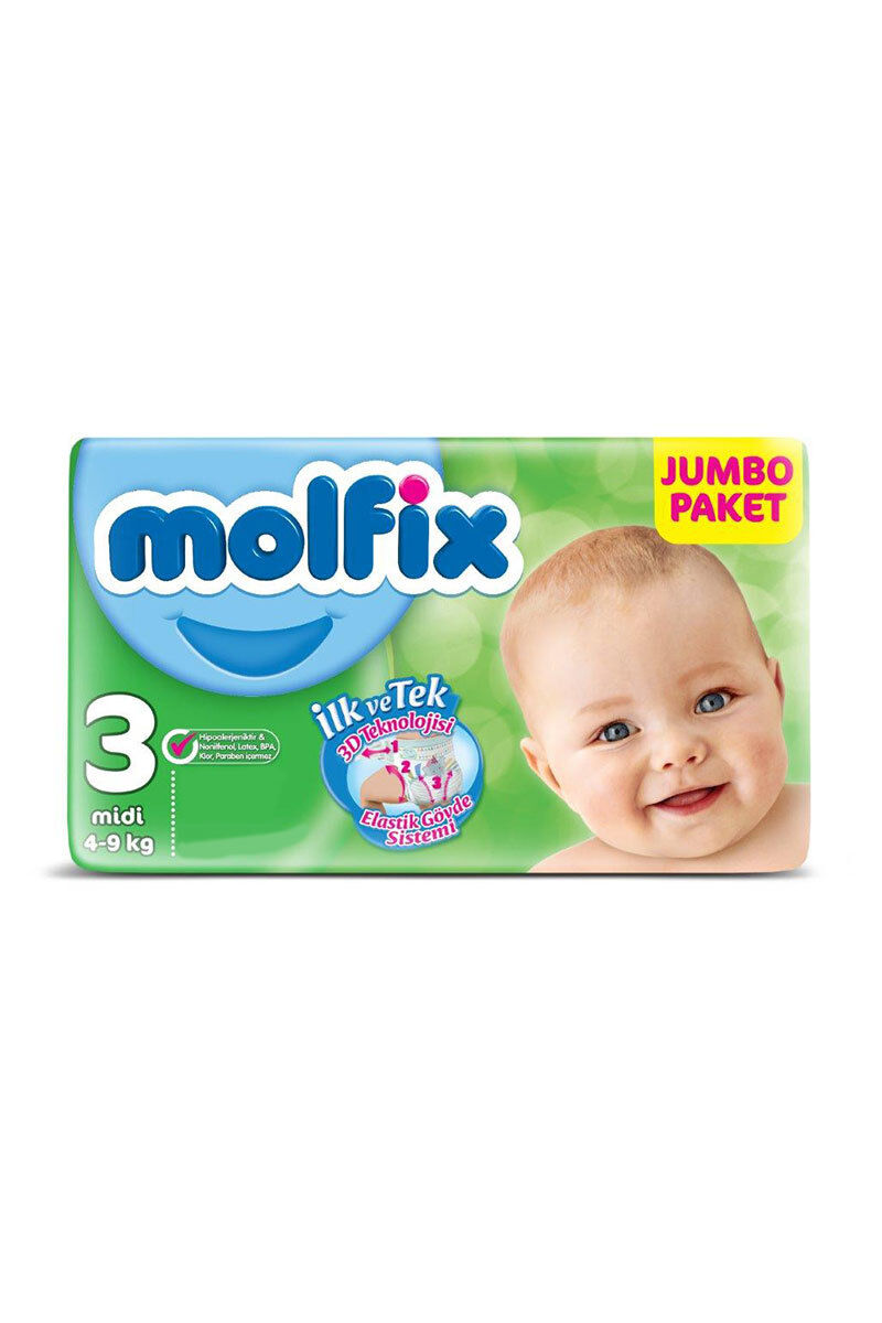 Image for Molfix Bebek Bezi Jumbo Midi(3) 4-9 Kg 54 Ped from Bursa