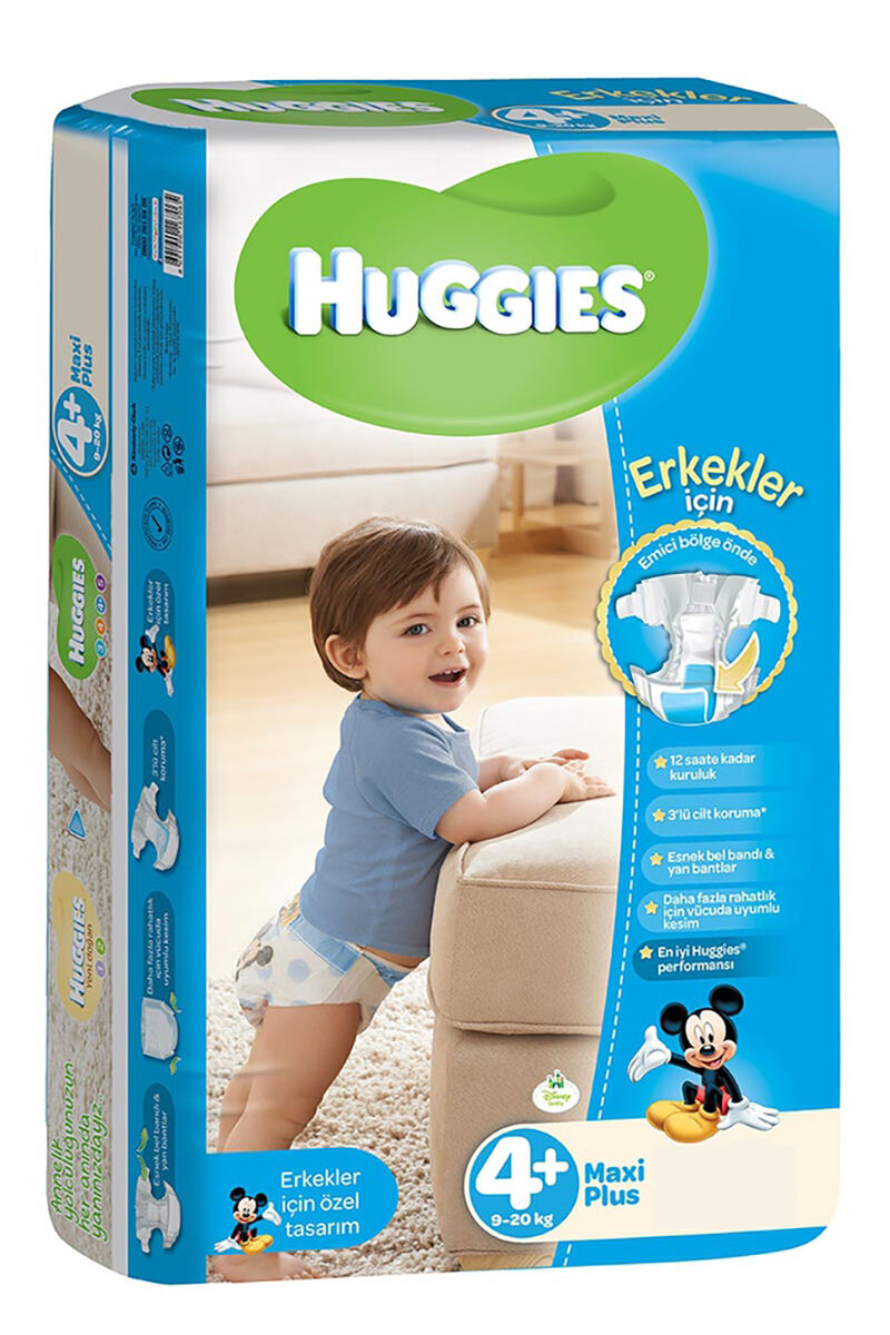 Image for Huggies Bebek Bezi Jumbo Maxi Plus Erkek (4+) 9-20 Kg 38 Ped from Bursa