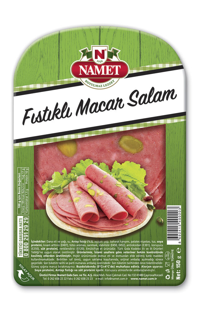 Image for Namet Dana Dilimli Fıstıklı Salam 150 Gr from Bursa