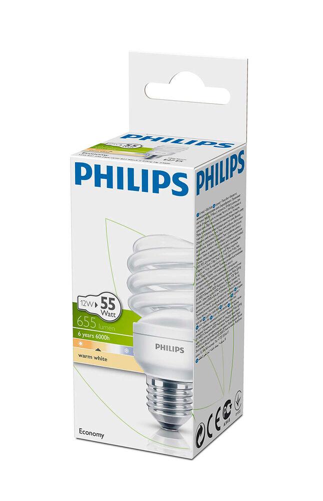 Philips Ampul Twister 12W WW E27 Sarı Işık